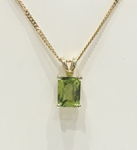 Peridot Yellow Gold Claw Set Octagonal Necklace
